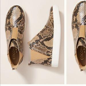 • Anthro leather snakeskin ankle hightop